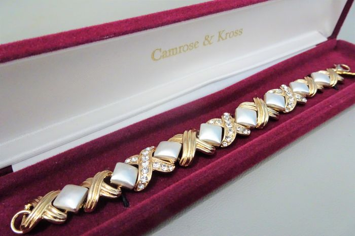 Camrose & Kross - Jackie Bouvier Kennedy - Gold & Rhodium plated, Clear Crystals  - Bracelet in Box and certificate