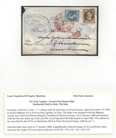 France 1867 - Louis Napoleon III, Empire Maritime, 50c. rate Redirected mail to Italy - Par voie Anglais: Cunard Line Packet Mail - with Yvert n° 29 and 30