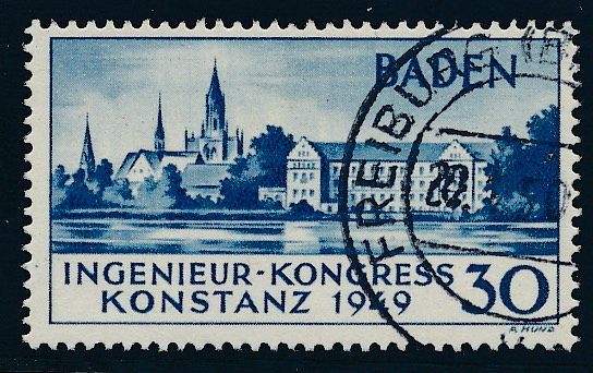 Germany - French Zone - Baden - 1949 - Engineering Convention in Constance 2nd edition, Michel 46 II
