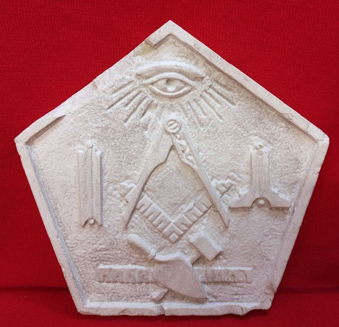 Pentagonal Masonic Tile of Istrian Stone - Italy, Florence, 1800s