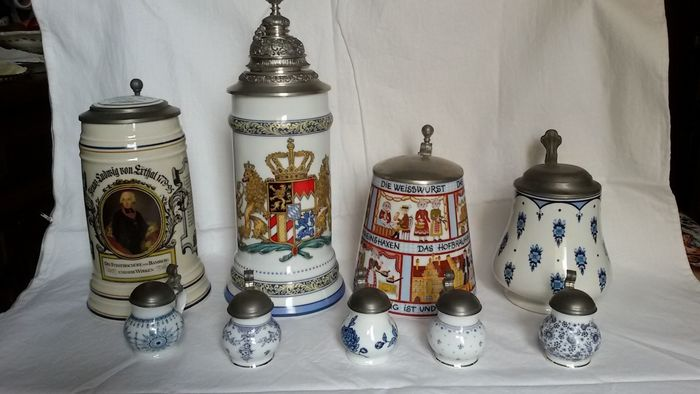9x porcelain steins