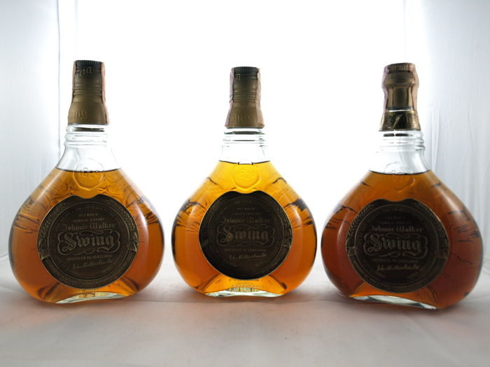 3 bottles - Johnnie Walker Swing 75cl 40% - bottled 1970s-1980s