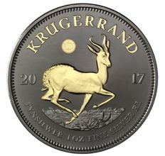 South Africa - Krugerrand 2017 '50 Years of the Krugerrand' Ruthenium/gold-plated - 1 oz silver
