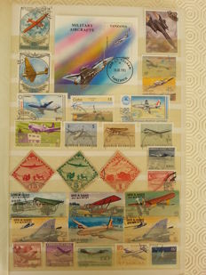 Theme, Aeroplanes and Balloons of the World – 1100 Stamps and 50 Blocks.