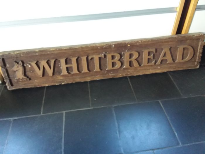 Large beer advertising sign Whitebread in plastic. 1994