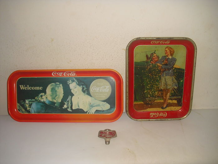 3 x coca cola 1 original 1950s bottle opener, service tray in 1991 and from the 1920s/30s