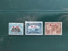 Belgium 1918 - Selection Red Cross including the 5 and 1 franc, among other things - OBP 159, 160 and 162
