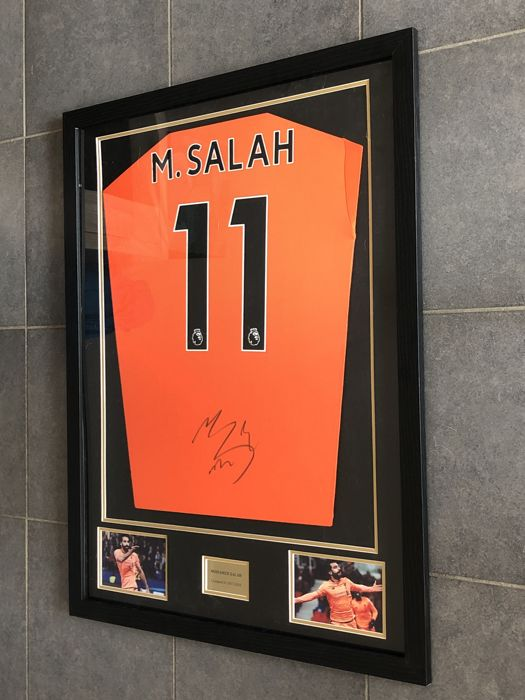 new arrival 3b527 60e2e Mohamed Salah signed framed Liverpool Fc alternative 2017 ...