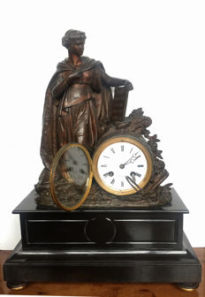French sculptural clock depicting a Roman goddess holding a scroll - 19th century
