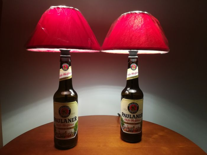 Pair of lamps and lights made with original Paulaner beer bottles, unique and perfect to decorate bedside tables or pubs