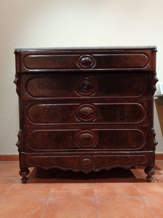 Isabelline dresser in mahogany and white marble - 19th century - Spain