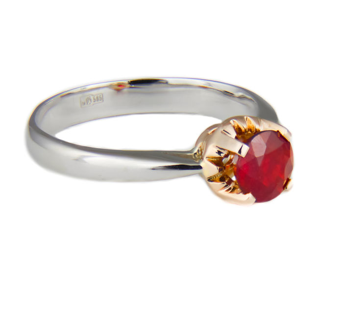 1.22 ct. ruby two color gold 14k ring; Ring size: 18.6 mm - Free Resizing