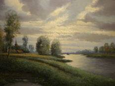 Willem Kroon (1946-2008) - Rivier gezicht in Hollands landschap