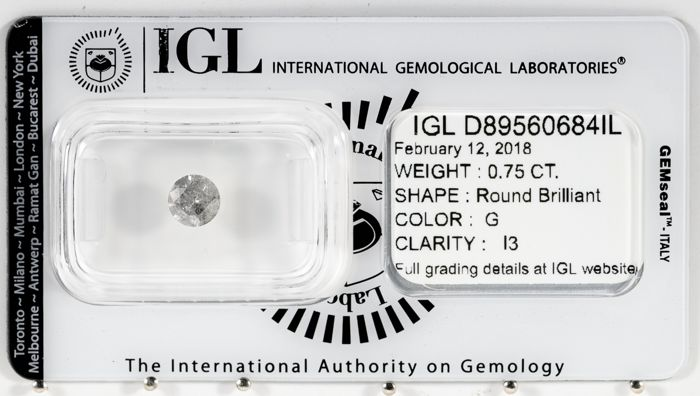 0.75 CT Round Brilliant Cut  G / I3  *** Low Reserve ***