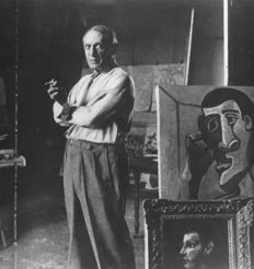 Lee Miller (1907-1977)  - Pablo Picasso in his studio in Paris, 1944