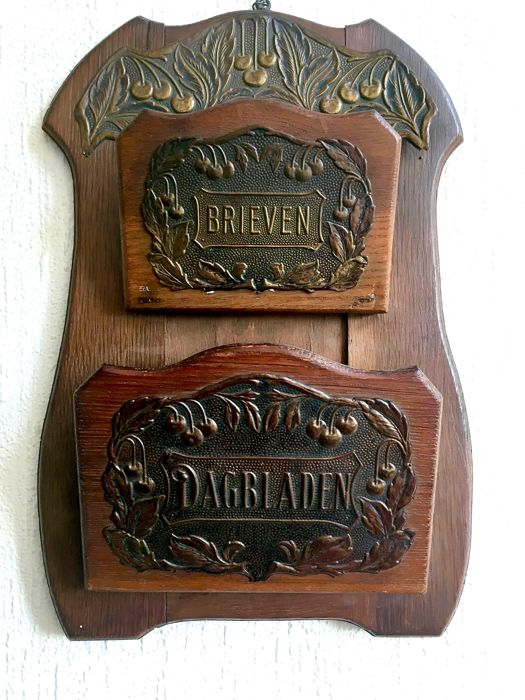 "Wooden Art Deco ""Brieven"" (letter) and ""Dagbladen"" (newspapers) holder (rack) with brass fittings"