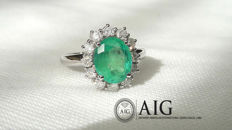 White gold cocktail ring (18 kt) with natural emerald of 2.04 ct (AIG certificate) and diamonds for 0.60 ct - Italian size 15 ***No Reserve***
