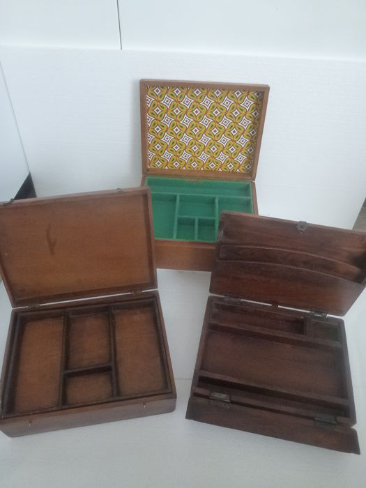 Three Different Old Wooden Boxes / Storage Boxes / Jewellery Case / Writing  Box, Storage
