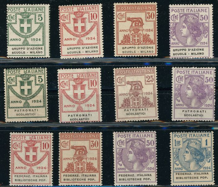 Kingdom of Italy 1924 - Semi-public agencies, 'Gruppo azione scuole Milano' (Milan school action group) + scholastic aid society + federal public lending libraries – Sassone Nos.  38/41 and 58/61 and 34/37