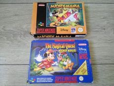 Lot of 2 SNES Mickey Mouse games (PAL) - Mickey Mania & Disney's Magical Quest - both complete in box with manual & inner box