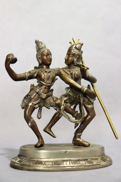 Bronze figure of Shiva and Parvati - India - 2nd half of the XX century