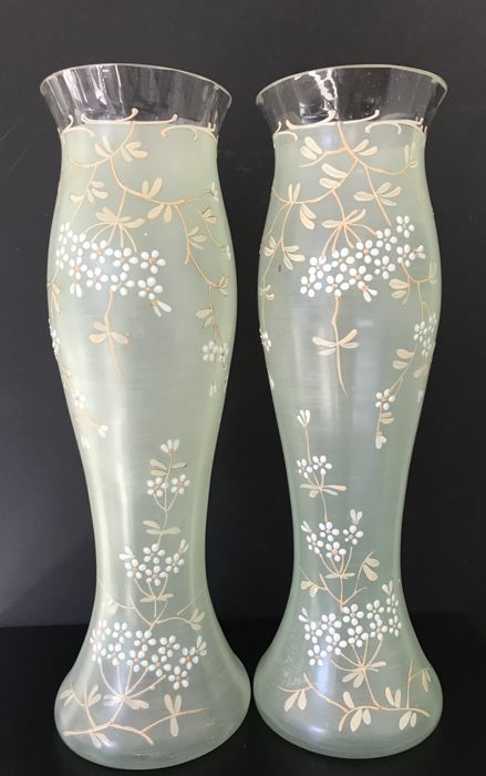 Josef Riedel Attribution Antique Set Of Vases In Japanese Style