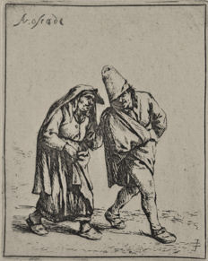 "Adriaen van Ostade (1610-1685)  - ""Peasant and Peasant woman walking"""