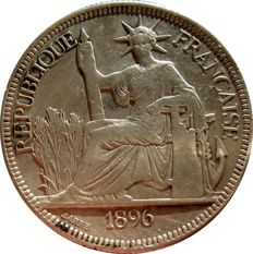 French Indochina - Piastre de Commerce 1896 A (Paris) - Silver