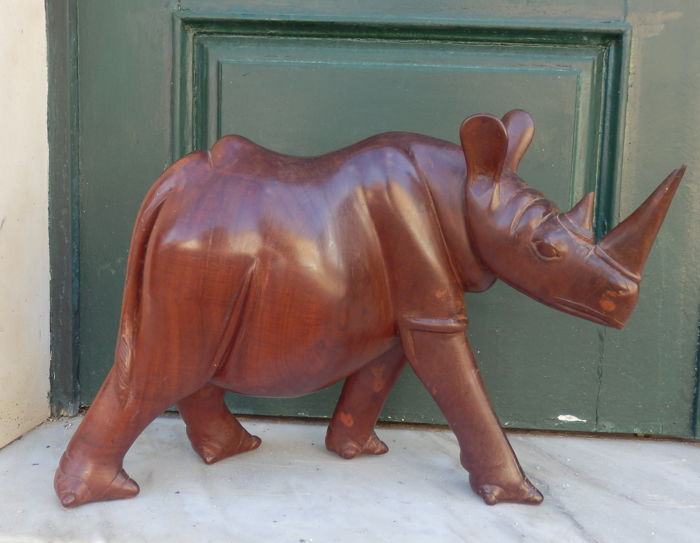 Antique massive rose wooden Rhinoceros, ca. 1920's