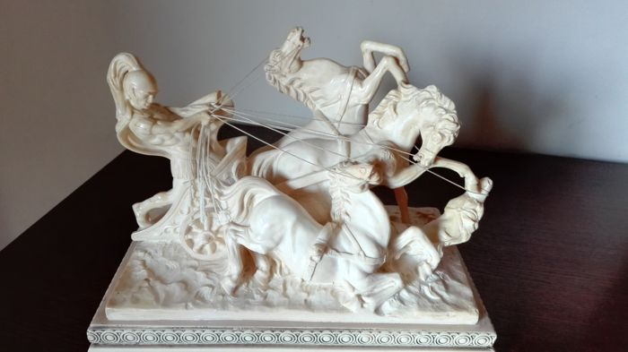 A. Santini - Centurion Ben Hur on chariot with falling horses - resin - signed