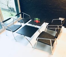Lexis system Italy - set of 4 easy chairs and 2 low tables of chrome and plastic - no reserve