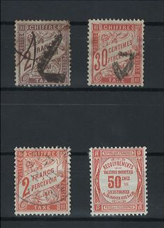 France 1884/1925 - Selection of postage due stamps including ones signed Calves with digital certificate - Yvert 26, 34, 41 and 47