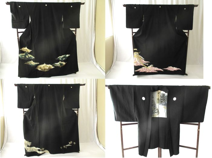 3 beautiful black tomesode kimono and 1 haori - Japan - 21st century