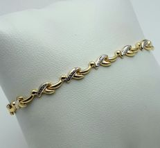 Ladie's Bracelet, 14/585 Ct White & Yellow Gold, length 19cm, Total Weight 3.50g