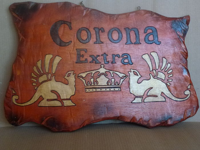 """Birra Corona Extra"", advertising shaped wooden plaque, with branded drawings and lettering"