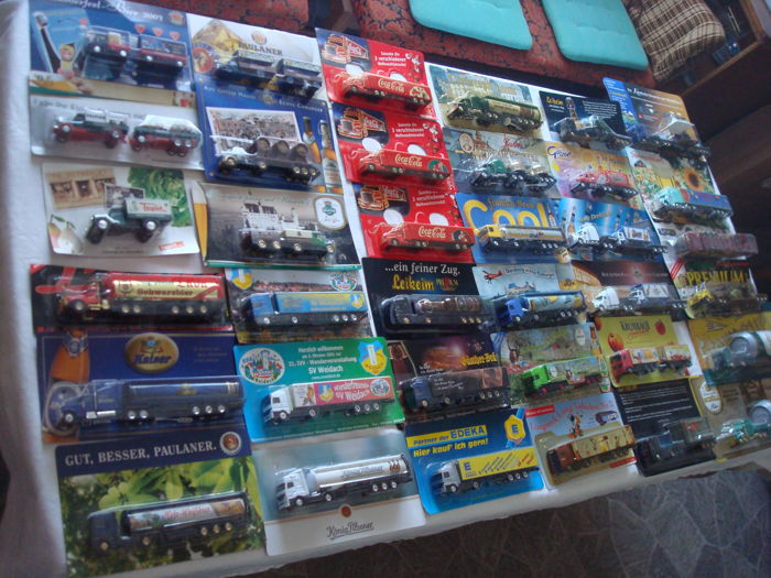 A variety of brands - brewery trucks, advertising trucks, some vintage and rarity, in original packaging, 103 pieces