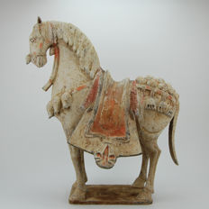 Painted Pottery Figure of a Fully-Decorated Horse from the Northern Qi Dynasty - 44 cm