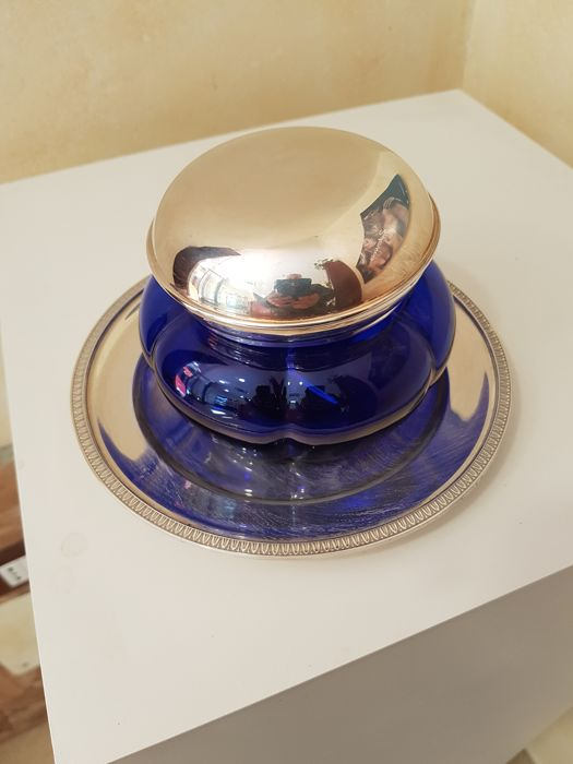 Chocolates bowl in cobalt blue glass and silver, Italy, 20th century