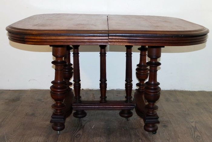 Antique and important extending kitchen table in solid oak wood - Napoleon III 1870