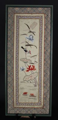 Delicately Embroidered Chinese Screen - China - first half 20th century