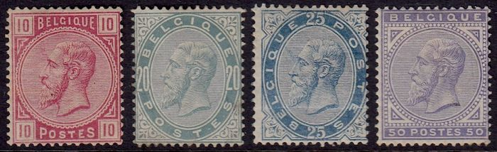 Belgium 1883 - Leopold II - OBP 38/41 and 42/45