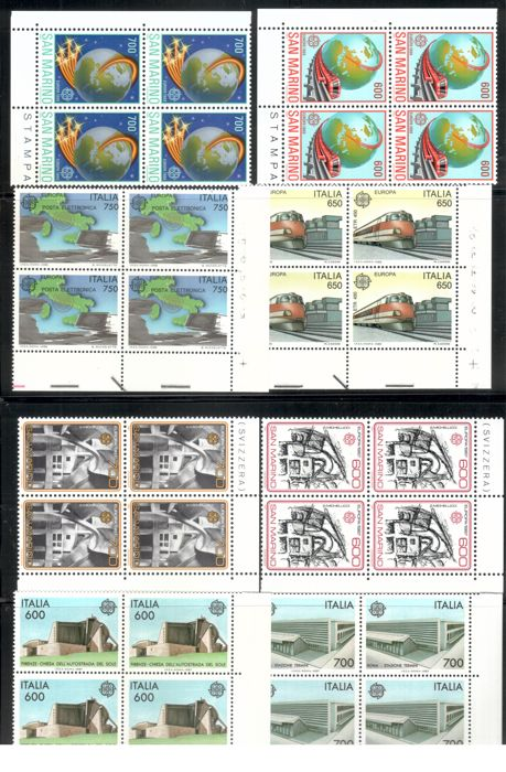 Italy, San Marino, Vatican City, Portugal 1975-1999 - collection CEPT blocks of four
