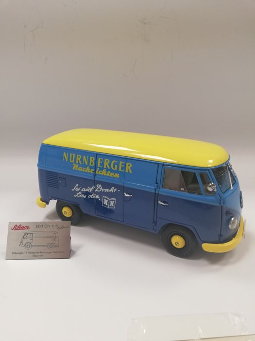 Schuco - Scale 1/18 - VW T1b Transporter ´Nurberger Nachrichten´ 1959-1963 - Blue / Yellow - Limited Edition 1,000 pcs