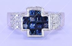 3.73 Ct Sapphires and Diamonds, cross ring ***NO RESERVE price***