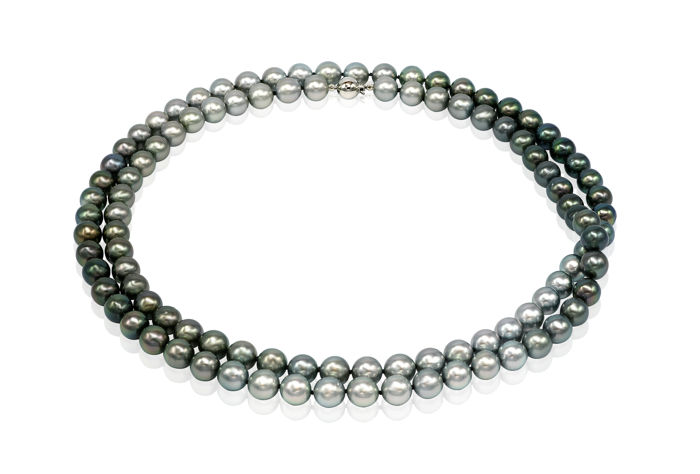 8.5x9mm  Long Tahitian Pearlnecklace In Rainbow of Colours with an 18K White Gold Ball Clasp