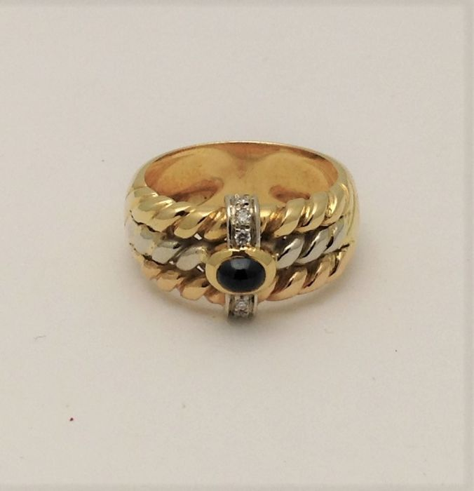 White and yellow gold ring (18 kt) - sapphire cabochon - diamonds - handmade in Italy - Italian size 16