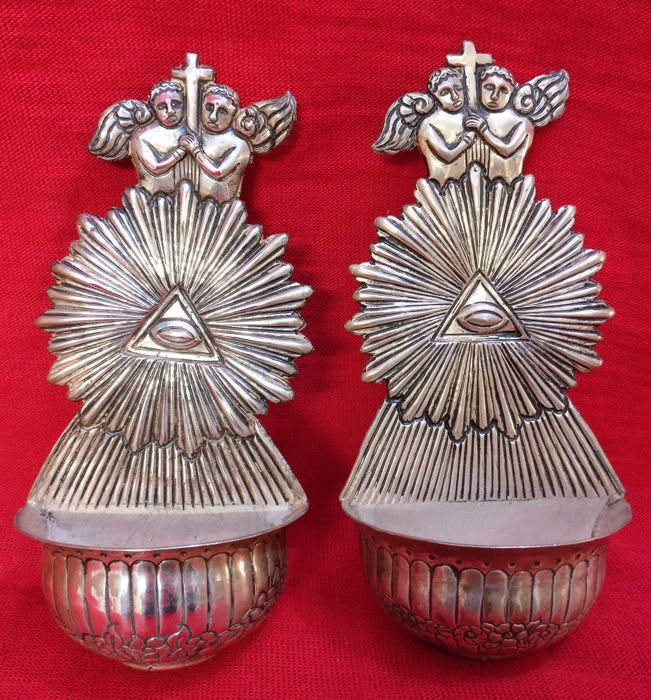 Rare pair of Holy Water Fonts, Silver 800, with Angels and Masonic symbols Venice, Italy, early 20th c