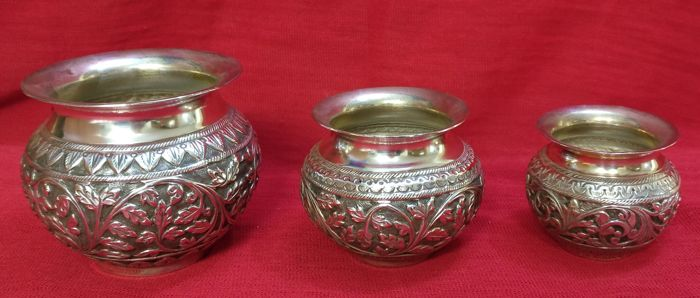 Trio of Bowls, Silver 800, Finely Handcrafted Venice (Italy), 20th century