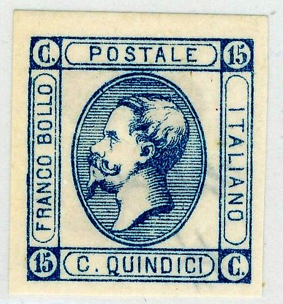 Italy, Kingdom 1863 - Effigy of Vittorio Emanuele II, 15 c., light blue, smooth gum, Sassone No. 12