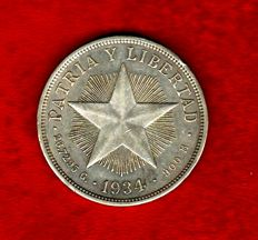 Cuba -  Republic of Cuba, 1 silver peso (26.78 g, 37 mm), 1934 PATRIA Y LIBERTAD (Country and Freedom)